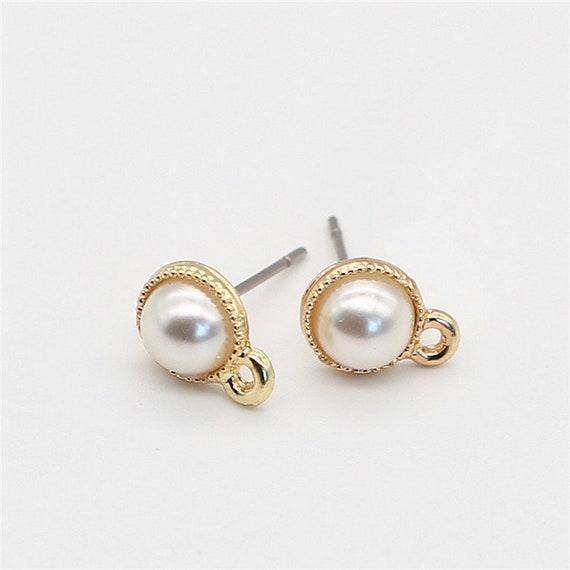 Pearl Earrings Stud Pearl Earrings Pearl Studs Gold Etsy