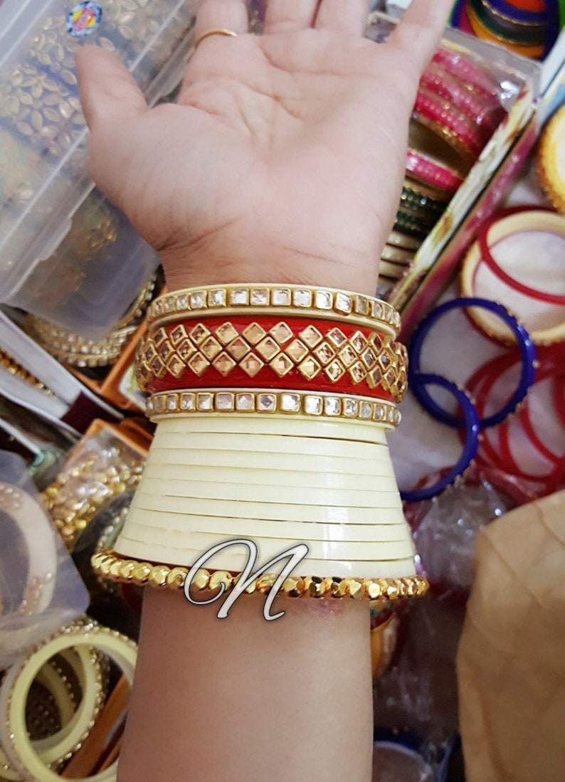 New Indian Bridal Wedding CHURA BANGLES with HANDMADE Stone Work  Traditional Marwari Rajasthani Chuda
