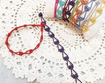 Korean traditional knot bracelet, colorful silk cord, layered bracelet, silk string arabesque pattern oriental knot, heart bracelet