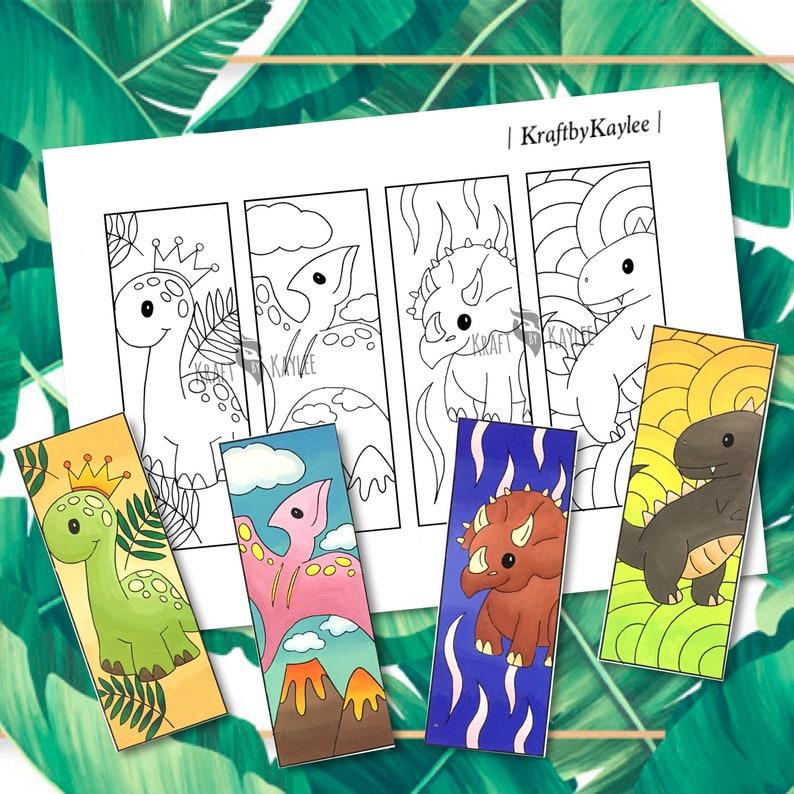 Cute Dinosaur Coloring Bookmarks