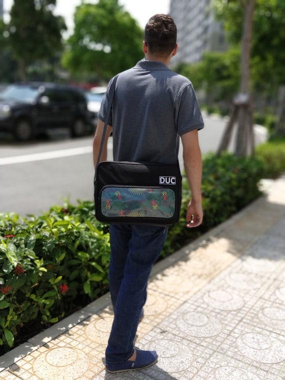 Messenger bag, Tropical fusion, Black, Shoulder bag, Laptop bag, Satchel,  Crossbody bag, Gifts for him, Boyfriend gift,Gift for men,Work bag