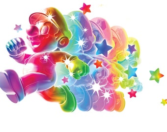 7 Inch Invincible Rainbow Star Super Mario Bros Galaxy 2 Wii Removable Wall Decal Sticker Art Nintendo Brothers Home - 7 1/4 by 4 1/2 inches