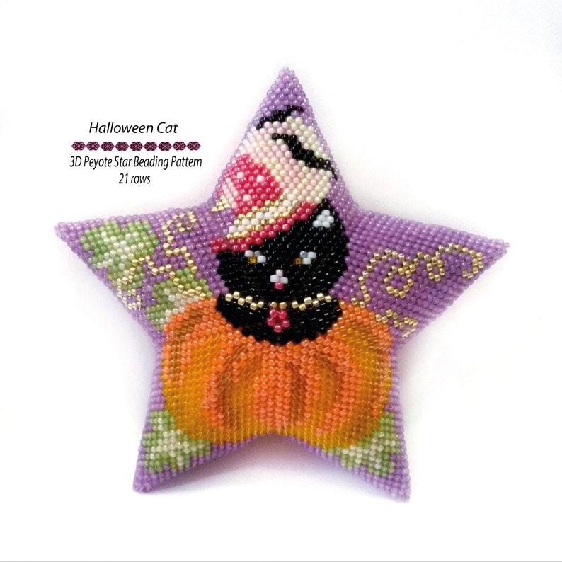 3D Star Peyote Beading PDF Pattern Halloween Black Cat in Pumpkin