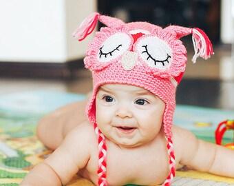 Crochet baby owl hat, newborn knit baby hats, pink baby hat, baby shower gift, newborn photo prop, baby girl hat, baby caps, newborn caps