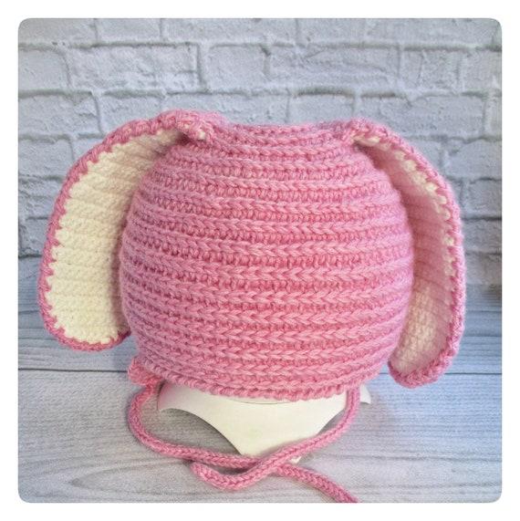 Bonnets pour bébé lapin tricoté chapeau de bébé en tricot   Etsy 79a4c3f3bc9