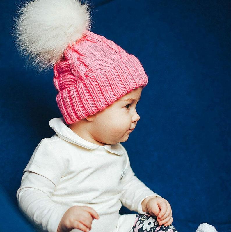 c16778421 Winter autumn wool baby hats knitted baby girl hat natural