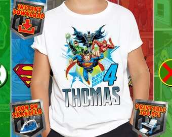 Justice League Birthday Hero Iron On Transfer Sublimation Design T Shirt Printable 300 Dpi Digital File