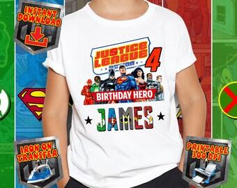 Justice League Birthday Hero Iron On Transfer Sublimation Design T Shirt Printable 300 Dpi Digital File