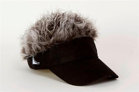 Flair Hair Black Visor Grey Hair  8c8cd0c042db