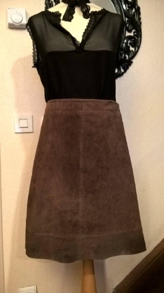 Vintage skirt, brown suede skirt women skirt girl