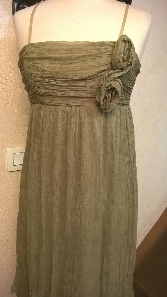 Vintage dress,Short dress, chiffon, olive color,wo