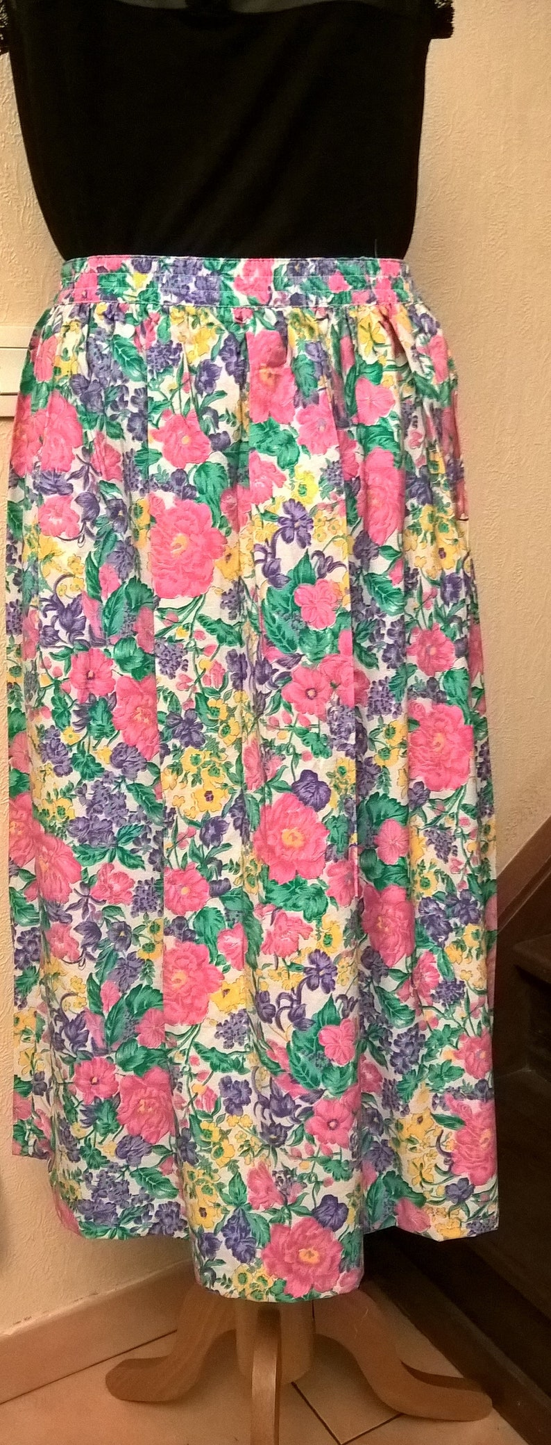 white Made in France vintage clothing girl gift pink green and blue vintage gift Vintage skirt cotton year 80 women gift