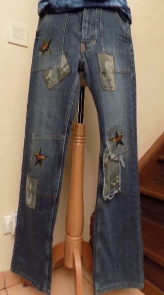 Denim pants, military pattern, women's pants, girl