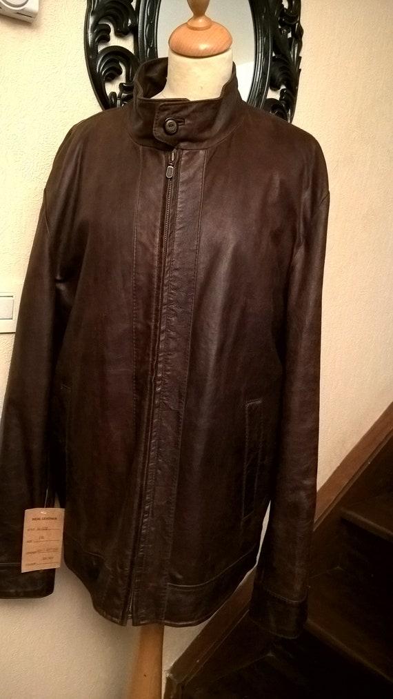 Jacket leather jacket men, men's clothing, brown j