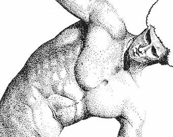 illustration dotart - Discobole revisited - sculpture Myron - the pika