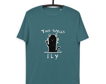 T-shirt Black Cat ILY - organic and unisex