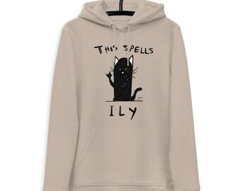 Hoodie K Black Cat ILY - organic and unisex