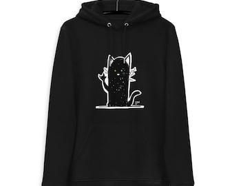 Hoodie K Black Cat - organic and unisex