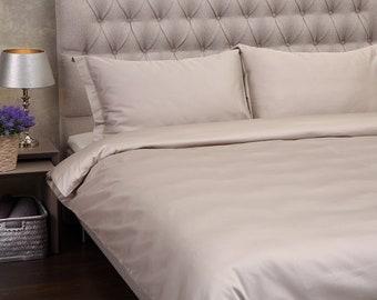 LUXURY SATIN BEDDING. Set Of Satin Duvet Cover And Pillowcases Latte Bedding Set King Duvet Cover Double Duvet Cover Single Duvet Cover