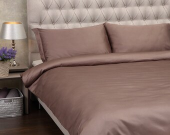 LUXURY SATIN BEDDING. Set Of Satin Duvet Cover And Pillowcases Cappuccino Bedding Set King Duvet Cover Double Duvet Cover Single Duvet Cover