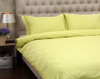 LUXURY SATIN BEDDING. Set Of Satin Duvet Cover And Pillowcases Lime Bedding Set. King Duvet Cover Double Duvet Cover Single Duvet Cover