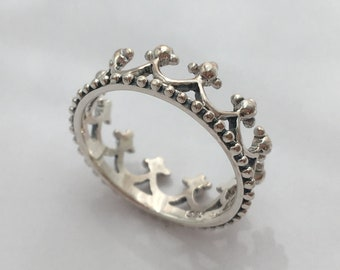 Sterling Silver Megan Crown Stacking Ring