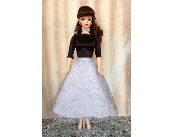 Handmade Barbie doll tulle skirt and black top - Barbie clothes