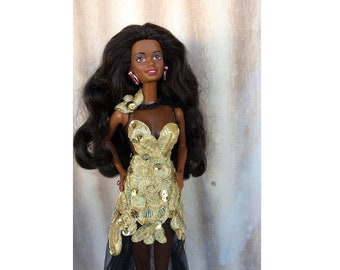Embroidered tulle Barbie dress - Gold and black Barbie clothes