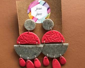 Granite and red polymer clay earrings