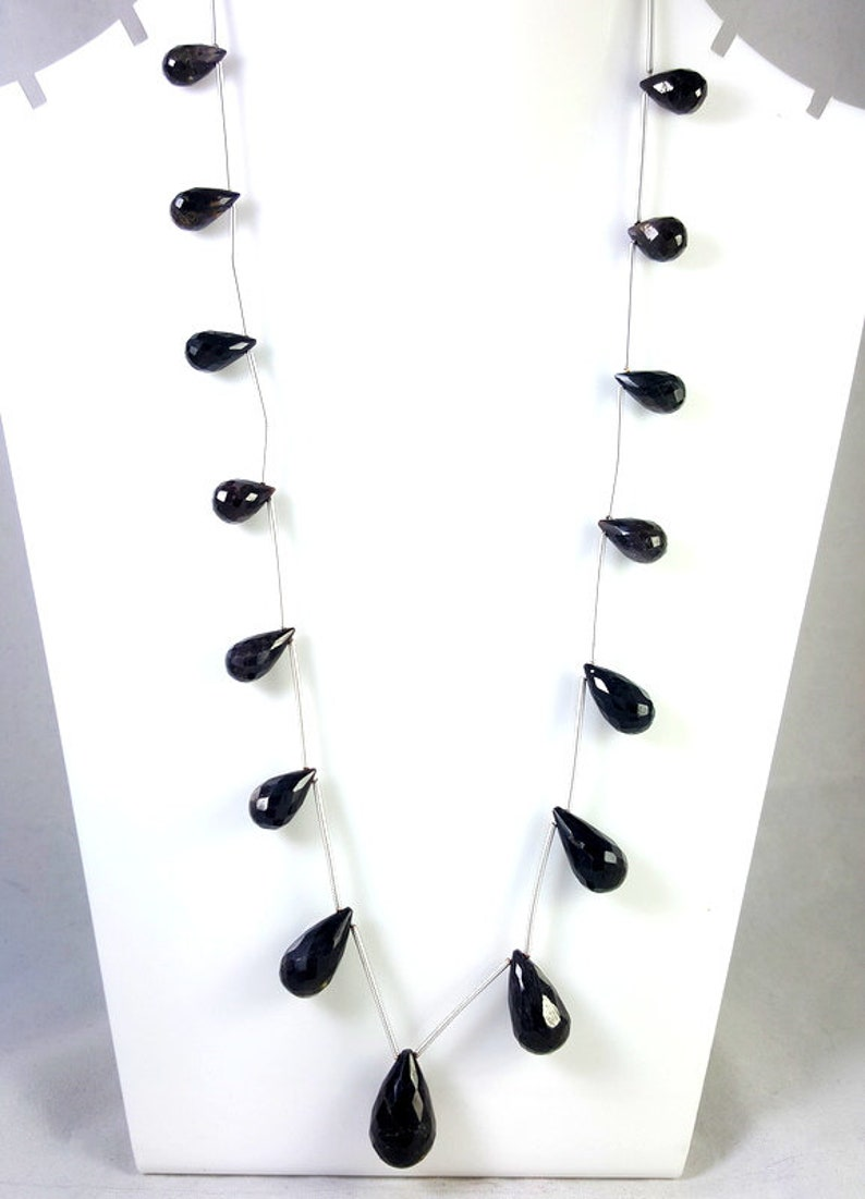 BLACK SAPPHIRE GEMSTONE Necklace Jewelry Faceted Drop Shape Perfect Women Necklace Jewelry 20 Inches Length Sapphire Jewelry 204.20 Carat
