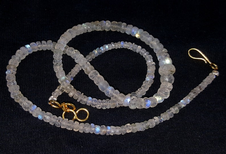 Natural Moonstone Feceted Beads Necklace Jewelry Blue Fire Moonstone Jewelry Necklace One Strand Moonstone Necklace 63.25 Carat Size7.25x4x3