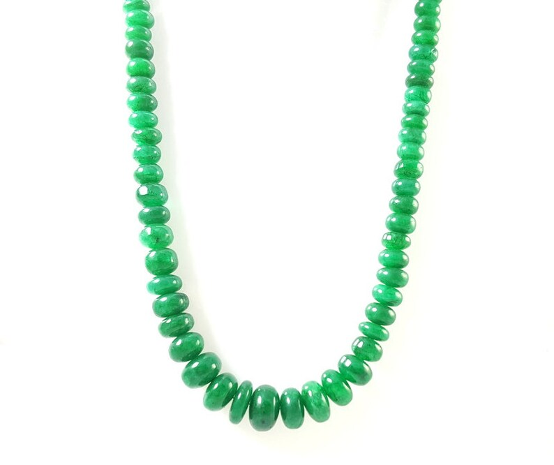 AAA Top Quality Natural Emerald Smooth Cabochon Beads Strand Necklace Jewelry 18Inches Length Emerald Gemstone Necklace MotherS Day Jewelry