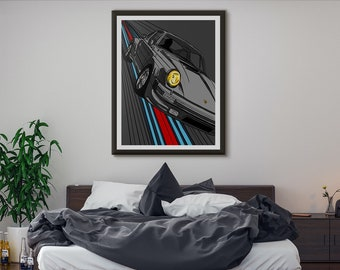 Porsche 911 Martini car, Wall Art, High Quality Giclée Poster Print. All sizes available A1, A2, A3, A4 Graphic Art Style Illustration