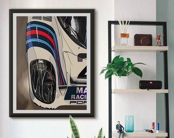 Porsche 917 Martini Le Mans, Wall Art, High Quality Giclée Poster Print. All sizes available A1, A2, A3, A4 Racing Car Illustration,