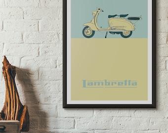 Vintage Lambretta Scooter Wall Art, High Quality Giclée Poster Print. Retro Hand Drawn Illustration, LI150 LI125 Frame Breather