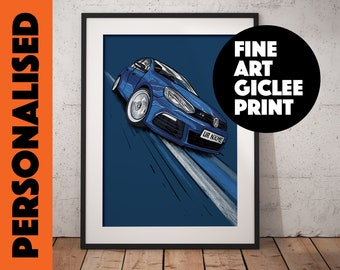 VW Golf R, Personalised Wall Art, High Quality Giclée Poster Print. Add number plate of your choice, sizes  A1, A2, A3, A4 Male Gift