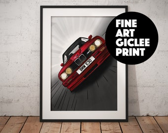 BMW E30 M3, Wall Art, High Quality Giclée Poster Print. All sizes available A1, A2, A3, A4 etc... Illustration,