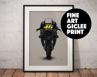 Rossi MotoGP bike, Wall Art, High Quality Giclée Poster Print. All sizes A1, A2, A3, A4,  Hand Drawn Illustration, 46, Yamaha, Valentino