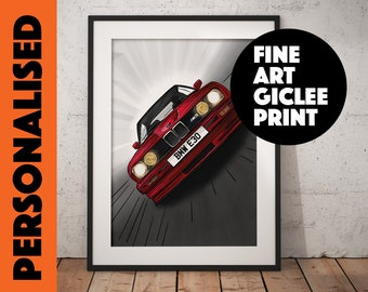 BMW E30 M3, Personalised Wall Art, High Quality Giclée Poster Print. Add number plate of your choice, sizes  A1, A2, A3, A4 Male Gift