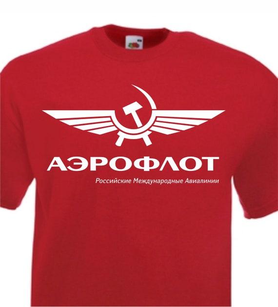 Aeroflot Retro RUSO Aerolínea Camiseta URSS soviético Vintage CCCP azul marino