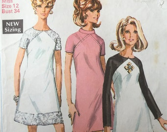 "Vintage 1960s Dress Sewing Pattern Simplicity 7749 Bust 34"" Mod"