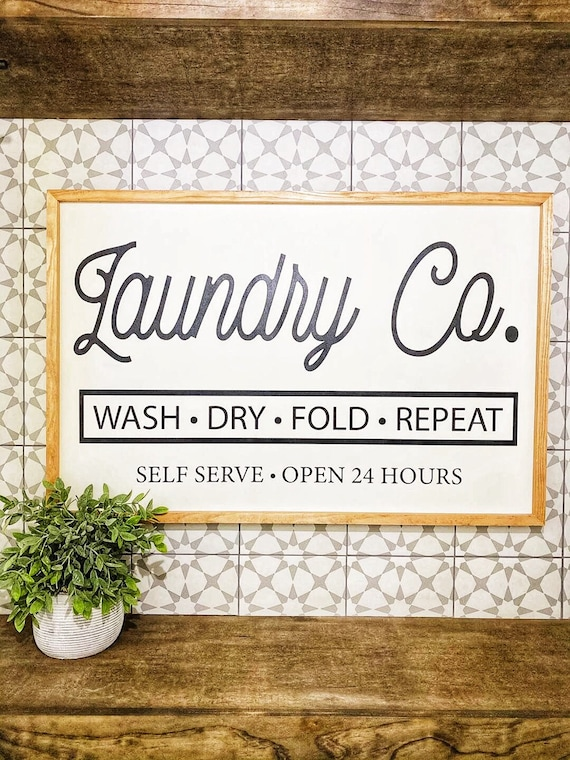Shop Laundry Co large wood sign from Etsy on Openhaus