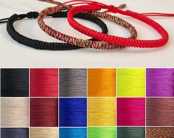 5f38c076 Tibetan Bracelet Handmade Woven Braided Bracelet Lucky knots Rope Bracelet  Adjustable Size,Customizable Bracelet,24 Colors to Choose