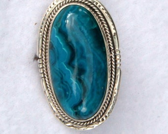 Huge Blue Chrysocolla Native American Made Ring