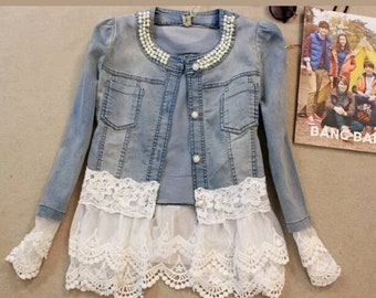 Denim and lace jacket with pearls