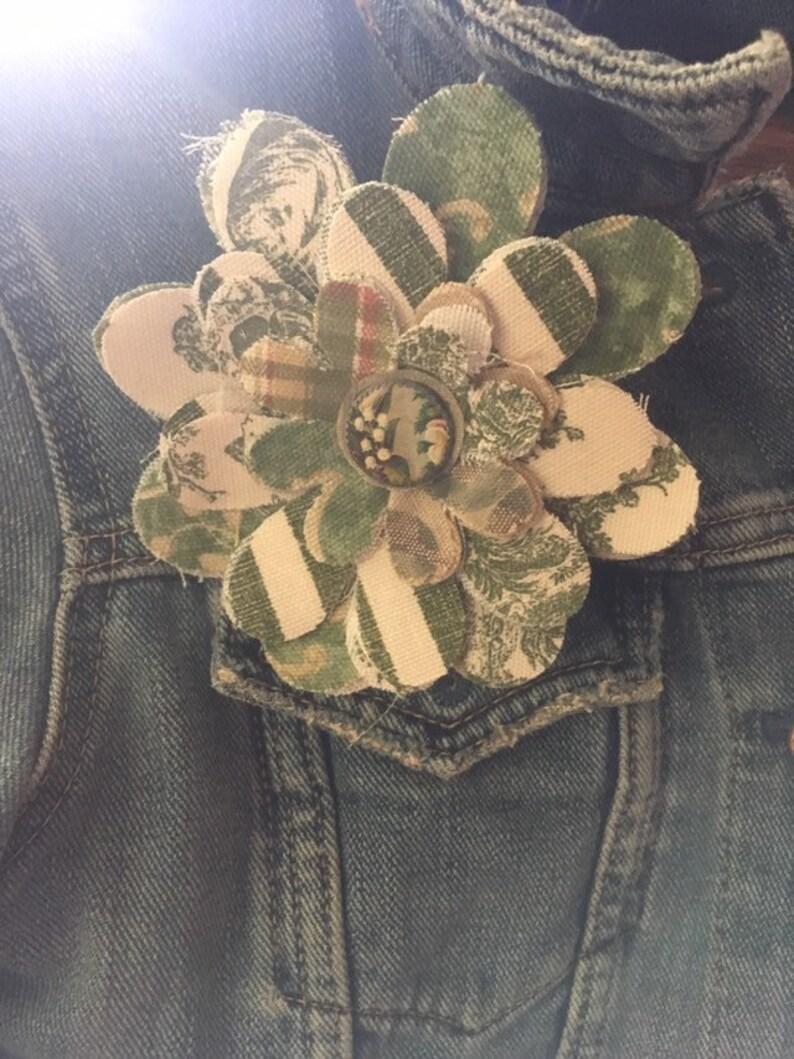 Hand made Fabric Flower Pin