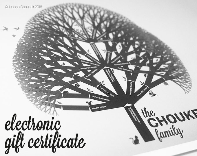 Electronic Gift Certificate for custom family tree print personalised unique beautiful wall art ancestry genealogy, 6 earth tone options