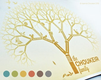 """A4/11x8.5"""" custom family tree print personalised unique beautiful wall art birthday family event gift ancestry, 6 earth tone options"""