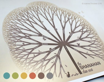 """A1/34x22"""" custom family tree print personalised unique beautiful wall art anniversary family event gift ancestry, 6 earth tone options"""