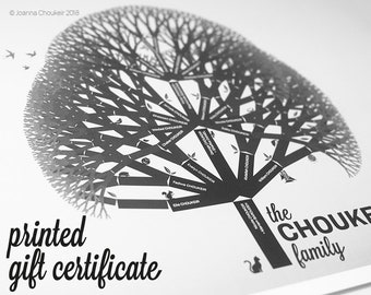 Printed Gift Certificate for custom family tree print personalised unique beautiful wall art ancestry genealogy, 6 earth tone options